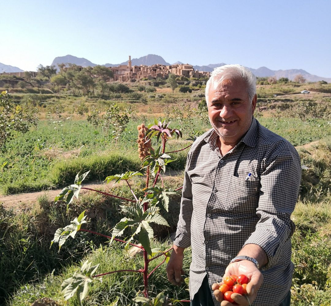 Visiting gardens of kharanagh village on an Iran vegan vegetaran tour