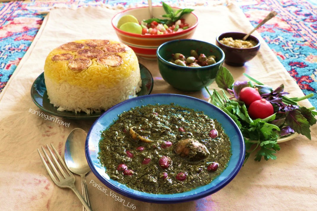Vegan ghormeh sabzi one of Persian dishes you can try on a vegan food tour