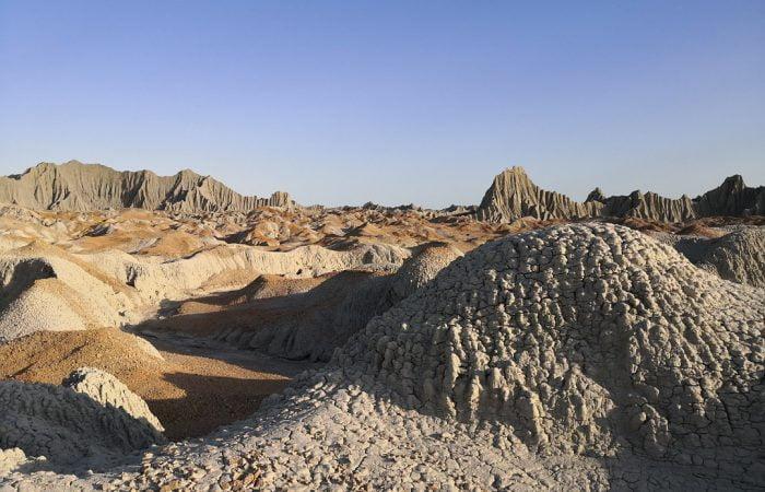 Martian mountains or Kuhaye Merikhi (in Persian) in Chabahar, Sistan & Baluchestan. Iran Vegan Travel