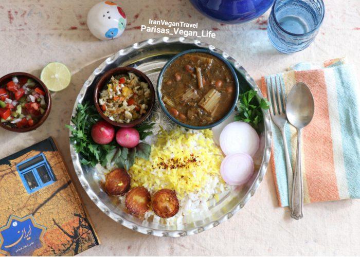Vegetarian khoresh karafs. Vegan Persian recipes